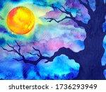 Full Moon Dark Night Halloween...