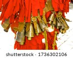 ritual bells of mummers in the town of Karlovo Bulgaria