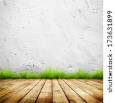 old wall and green grass on... | Shutterstock . vector #173631899