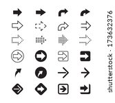 black and white arrows signs | Shutterstock .eps vector #173632376