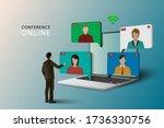 conference meeting online... | Shutterstock .eps vector #1736330756