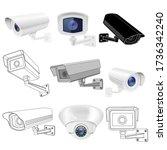 cctv security camera set....   Shutterstock .eps vector #1736342240