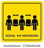 social distancing sign stick... | Shutterstock .eps vector #1736343146