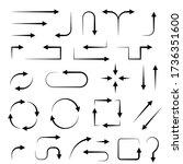 arrows. hand drawn black signs. ... | Shutterstock . vector #1736351600