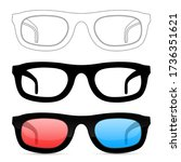 glasses. set. illustration... | Shutterstock . vector #1736351621