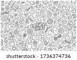 line art vector hand drawn...   Shutterstock .eps vector #1736374736