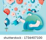man planting gardens flowers... | Shutterstock .eps vector #1736407100