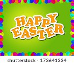 happy easter greeting card | Shutterstock . vector #173641334