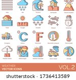 weather icons including haze ... | Shutterstock .eps vector #1736413589