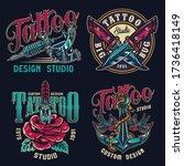 vintage tattoo studio colorful...   Shutterstock . vector #1736418149