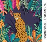 cute exotic wild big cat... | Shutterstock .eps vector #1736429276