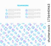 teamwork concept with thin line ...   Shutterstock .eps vector #1736440463