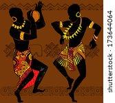 dancing aborigines.papuan...   Shutterstock .eps vector #173644064