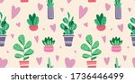 house plants in pots and vases. ... | Shutterstock .eps vector #1736446499