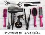 Hairdressing Tools On White...