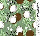 fruit seamless pattern  coconut ... | Shutterstock .eps vector #1736478170