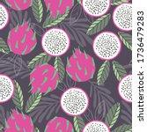 fruit seamless pattern  dragon... | Shutterstock .eps vector #1736479283