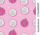 fruit seamless pattern  dragon... | Shutterstock .eps vector #1736480009