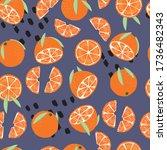 fruit seamless pattern  oranges ... | Shutterstock .eps vector #1736482343