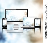 tablet pc  mobile phone ... | Shutterstock . vector #173648264