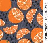 fruit seamless pattern  orange... | Shutterstock .eps vector #1736483540