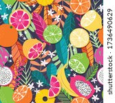 fruit seamless pattern ... | Shutterstock .eps vector #1736490629