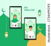 dual phone screen video call... | Shutterstock .eps vector #1736499293