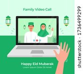 stay home online video call... | Shutterstock .eps vector #1736499299
