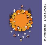 halloween wreath with pumpkins  ...   Shutterstock .eps vector #1736529269