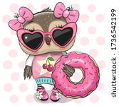 cute cartoon owl girl with...   Shutterstock .eps vector #1736542199