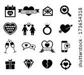 valentine's icon set | Shutterstock .eps vector #173654318