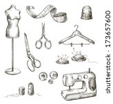 set of sewing accessories... | Shutterstock . vector #173657600