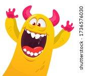 funny cartoon monster creature. ... | Shutterstock .eps vector #1736576030