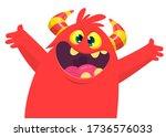funny cartoon monster creature... | Shutterstock .eps vector #1736576033