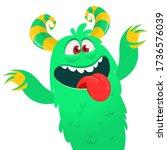 funny cartoon monster creature. ... | Shutterstock .eps vector #1736576039
