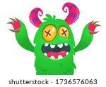 funny cartoon monster creature. ... | Shutterstock .eps vector #1736576063
