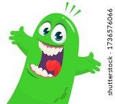cartoon blob monster. halloween ... | Shutterstock .eps vector #1736576066