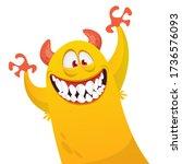 funny cartoon monster creature... | Shutterstock .eps vector #1736576093