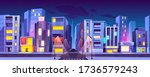 city crossroad at night time ... | Shutterstock .eps vector #1736579243