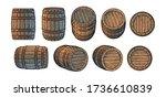 set of old wooden barrels in... | Shutterstock .eps vector #1736610839