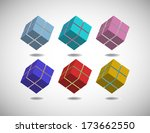 six cubes colored in different... | Shutterstock .eps vector #173662550