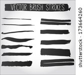 big set of grunge brush strokes.... | Shutterstock .eps vector #173664260