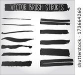 big set of grunge brush strokes.... | Shutterstock .eps vector #173664260