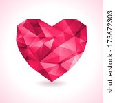pink origami heart on white... | Shutterstock .eps vector #173672303