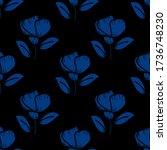 Hand Drawn Vector Blue Flowers...
