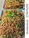 Small photo of fried Acheta domesticus crickets creative food