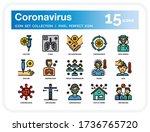coronavirus icons set. ui pixel ...   Shutterstock .eps vector #1736765720