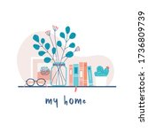 shelf decoration with cozy home ... | Shutterstock .eps vector #1736809739