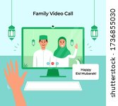 stay home online video call...   Shutterstock .eps vector #1736855030