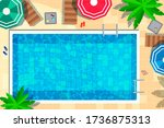 vector hotel swimming pool with ... | Shutterstock .eps vector #1736875313